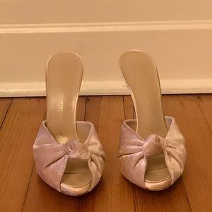 PreOwned Giuseppe Zanoti Pink Velvet Silver Heels